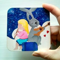Acrylic illustration for children painted on wood - Little Musicians by YourLovelyArtwork on Etsy