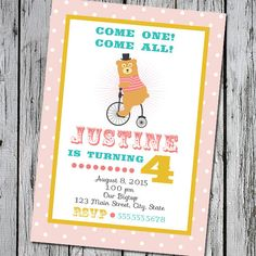 Birthday Party Invitation for Circus Themed Event by TriStarDesign