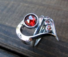 Garnet ring silver and gold ring unique ring by Silwomengolda
