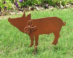 Pig Metal Garden Stake Metal Yard Art Metal by georgiametalart