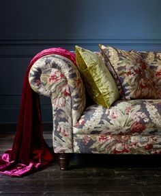 Floral's and velvet's used to create a dramatic floral feature sofa. Beautiful. Arcadia by Linwood Fabrics & Wallpapers. Velvet from the Sigma collection. This image has been used to advertise the Arcadia collection in many prestigious interior design magazines.