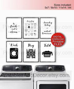Laundry Room Decor - PRINTABLE Wash Dry Cheat Sheet - Laundry Room Art - Digital Download Set of 8x10 Prints