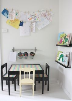 kid's art station: I love the buckets for the crayons and markers. also, the  bookshelves...