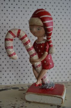Folk Art Paperclay Candy Cane and Girl