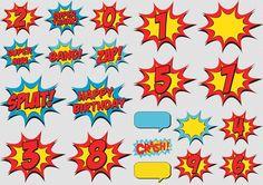 super heroes bubbles free download Mujer Maravilla: Rótulos y Números del Kit Gratis para Scrapbook.