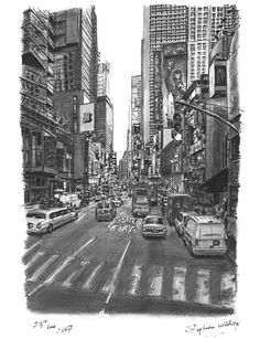 NYC. Stephen Wiltshire pencil drawings