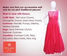 What to wear with gowns? Choose the perfect  to go along with the  to get a  visit our site : www. Metallic Pumps, Kanchipuram Saree, Lehenga Saree, Milan Design, Kochi, Saree Wedding, What To Wear, Gowns, Fashion Outfits