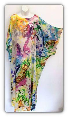 "Hand made , one of a kind ""Rainbow Fields"" Chiffon kaftan dress. - Hand made , one of a kind ""Rainbow Fields"" Chiffon kaftan dress. By Alexandria Hall African Maxi Dresses, African Fashion Ankara, Latest African Fashion Dresses, African Dresses For Women, African Print Fashion, African Attire, Africa Fashion, African Prints, African Style"
