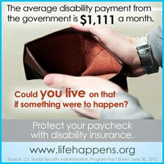Do I need Disability Insurance?  The average disability payment from the government is $1,111 a month - could you live on that if something were to happen?  #PaychecksMatter
