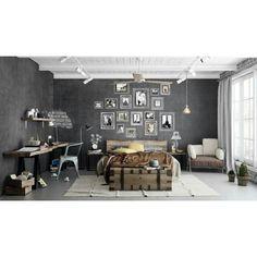 O design industrial chama atenção nos projetos e esbanja poder com materiais metálicos e tons de cinza. O quarto da foto se destaca pelo uso da estética e pela combinação de fotografias na parede da cabeceira. O que acham deste estilo? #decor #design #interiores #arquitetura by arkpad