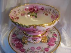 Gorgeous Antique T&V Limoges France Hand Painted Roses Porcelain Punch Bowl With Matching Plinth/Pedestal/Base And Matching 18 Tray ~ Victorian Masterpiece Heirloom Treasure ~ Circa 1900 Porcelain Vase, Painted Porcelain, Punch Bowl Set, Rose Art, Hand Painted, Painted Roses, Vintage China, Cut Glass, Tea Pots