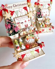 Triple Miniature Christmas Present//Gift Dollhouse size