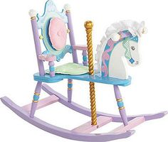"$174.95       A creative and useful furniture piece for a girl's nursery or playroom. This carousel-themed piece is part rocking chair, part rocking horse, which is a delightful idea for a play toy. Accents include a removable padded backrest and seat cushion, a silky mane & ears on the horse, and a ""gilded"" carousel pole to hold on to. Also included is a photo greeting card that the child can send to the buyer of the gift to say a special ""thank you."""