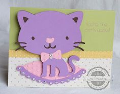 Create a Critter - cat card Kids Birthday Cards, Handmade Birthday Cards, Handmade Cards, Cat Cards, Kids Cards, Cricut Cards, Stampin Up Cards, Create A Critter, Paper Crafts