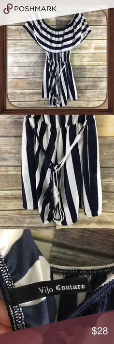 Vijo Couture Nautical Stripes silky Romper EUC Nautical design silky cold shoulder romper. Size small. In excellent used condition. 26 inches long. 17 inches arm pit to arm pit 3 inch inseam. vijo couture Pants Jumpsuits & Rompers