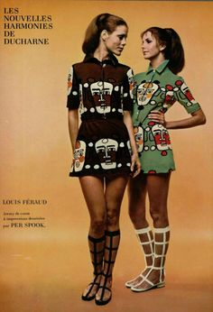 Back in Style. actually never went out---Louis Féraud, 1970 vintage fashion color photo print ad models magazine designer novelty print art dress mini skirt faces black brown green lattice boots Seventies Fashion, 1960s Fashion, Look Fashion, Trendy Fashion, Fashion Models, Fashion Design, Fashion Trends, Fashion Vintage, Child Fashion