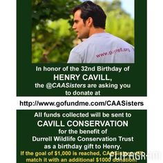 Looking for the perfect bday gift 4 #HenryCavill? Why not donate to www.Gofundme.com/CAASisters.  WE'RE MATCHING OUR GOAL OF $1K! Join us! The link is in our IG home page.  #henrycavill #superman #manofsteel #manfromuncle #batmanvsuperman