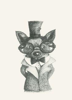 https://flic.kr/p/DvupNN | Mr Bau #drawing#animals#art#glasses#dog by Leo Bellei