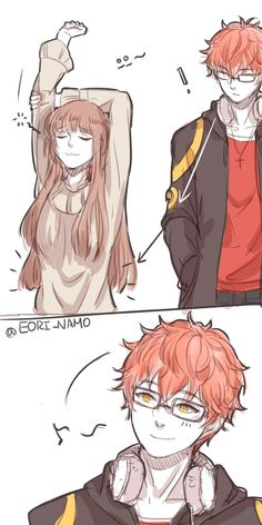 What you staring at 707 lol = ̄ω ̄= Seven Mystic Messenger, Mystic Messenger Fanart, Mystic Messenger Characters, Anime Couples Drawings, Cute Anime Couples, Estilo Anime, Girls Anime, Anime Kawaii, Anime Fantasy