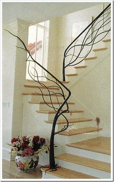 tree-staircase - I'd love something like this for the basement stairs.