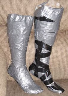 """The first step is to make a shoe last which is like a dress for for your foot. She shows you two ways to make your lasts. I didn't like either way so I decided to do it the sewers way and make """"duct tape doubles"""" of my feet."""