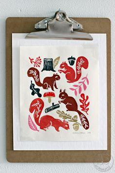 Oravanpesä | Squirrels print design Andrea Lauren