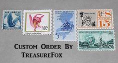 Reserved Custom Order for JPflug .. Unused Vintage US Postage Stamps by TreasureFox on Etsy