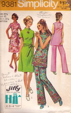 Simplicity 9381 vintage sewing pattern ©1971   Simple-To-Sew * Jiffy* Dress or Tunic and Pants in Half-Sizes: The dress V.1 or tunic V.2 & 3 have back zipper and stand-up collar. V.1 has short- set-in sleeves and self fabric tie belt. V.2 & 3 are sleeveless. The pants V.2 & 3 have elastic waistline casing. Specially sized for Misses and Women about 52 to 53.  Size: 20 1/2:  Bust: 43 / 109 cm Waist: 36 1/2 / 92 cm Hips: 45 1/2 / 115 cm  Pattern is cut and checked complete, EXCEPT FOR armhole…