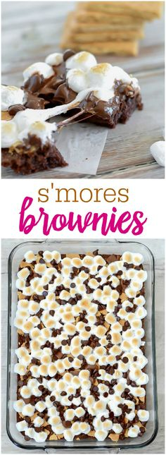 Smores brownies - fudgy brownies topped with toasted marshmallows, graham crackers, and plenty of chocolate making them a new favorite dessert.
