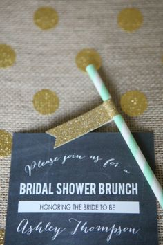 Chalkboard Bridal Shower Invitation, Mint Straw with Glitter Gold Flag, and Burlap and Metallic Gold table runner.