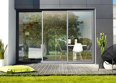 Baie coulissants aluminium 3 rails, baie vitree galandage : K•Line