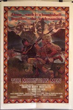 THE MOUNTAIN MEN -CHARLTON HESTON / BRIAN KEITH- ORIGINAL USA 1SHT MOVIE POSTER