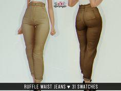 Elliesimple - Ruffle Waist Jeans Mods Sims 4, Sims 4 Body Mods, Sims 4 Mods Clothes, Sims 4 Clothing, Pelo Sims, Sims 4 Children, Sims 4 Teen, Sims4 Clothes, Sims 4 Characters