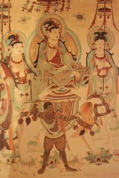 Mogao Grottoes aka Dunhuang Caves or Caves of a Thousand Buddhas form a system of 492 temples southeast of Dunhuang. An oasis strategically located on the Silk Road, in Gansu province, China. Buddhist Art, Buddha Buddhism, Dunhuang, Mudras, China Art, Ancient China, Silk Road, Ancient Artifacts, Central Asia