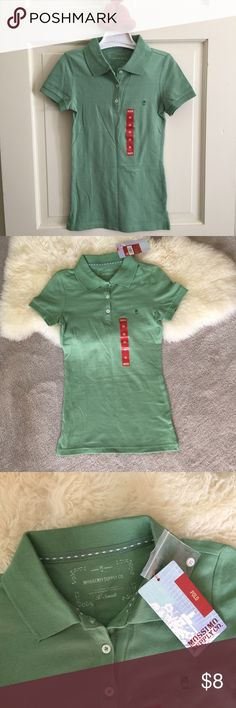 Green polo shirt Junior size XS, 97% cotton 3% spandex. Soft and comfy polo shirt. Short sleeved, so perfect for warmer days, or even colder nights with a jacket layered over Mossimo Supply Co Tops Tees - Short Sleeve