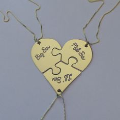 Trio of Broken Puzzle Hearts