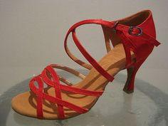 Red Women's Ballroom Salsa Latin Dance Shoes 2166