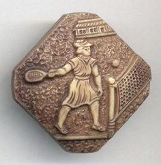 Vintage 1 Piece 30's Celluloid Button Woman Tennis Player Modified Square | eBay