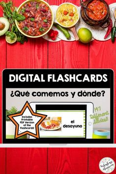 These digital AND printable Spanish vocabulary flashcards will make studying much easier for Spanish 1 students! Practice food vocabulary in Spanish, learn words for dining out en Español, and prepare for assessments. Words correspond with Así Se Dice 1 Chapter 4, ¿Qué comemos y dónde? Grab this no-prep Spanish resource now to make learning la comida vocabulary engaging & fun! Learning Spanish For Kids, Spanish Teaching Resources, Teacher Resources, Homeschooling Resources, Spanish Lesson Plans, Spanish Lessons, Spanish 1, Spanish Food, Food Flashcards