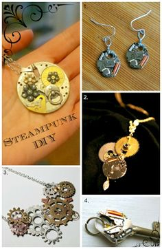 4 tutorials - make your own steampunk jewelry. #trashion  #steampunk #refashion