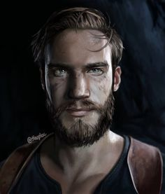 PewDiePie as Nathan Drake - portrait (Uncharted 4) by Shuploc on DeviantArt