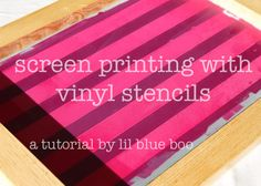 I can do my own screen printing?! I so know what I'm asking Santa for! And I love these ideas for using tape and vinyl to do it. She also used plain printing paper for a one time use stencil. But this just made my crafting life so much easier!