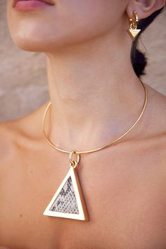 Triangle pendant necklace with luxe hoop triangle earrings