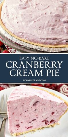 This No-Bake Cranberry Cream Pie couldn't be any easier to make! This No-Bake Cranberry Cream Pie couldn't be any easier to make! No Bake Desserts, Easy Desserts, Delicious Desserts, Dessert Recipes, Health Desserts, Christmas Desserts, Christmas Baking, Christmas Pies, Holiday Pies