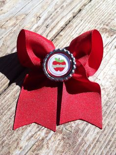 Applicious 2 loop bow. Red.  on Etsy, $3.00