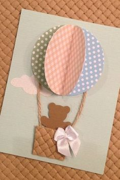 crafts from colored paper Diy And Crafts, Crafts For Kids, Paper Crafts, Air Balloon, Balloons, Baby Shower Cards, Handmade Birthday Cards, Baby Party, Baby Decor