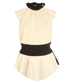 Cream. Small black trimmed round neck with single gold button. Sleeveless. Cut out shoulders. Pleated front. Wide black waist band. Black back. Small black ruffle flower at back neckline. Slim waist tie at back. #matchesfashion