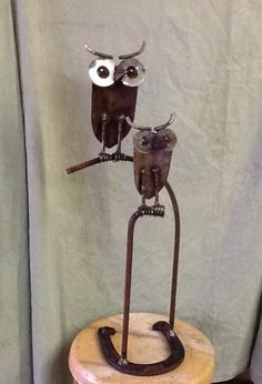 Owls made from old garden shovels
