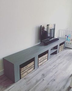 Rural TV furniture - My Home Decor Tv Furniture, Concrete Furniture, Happy New Home, Tv Wall Design, Wooden Crates, Home And Living, Home Goods, Sweet Home, New Homes