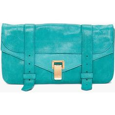 Proenza Schouler Ps1 Teal Leather Pouch Clutch ($895) ❤ liked on Polyvore featuring bags, handbags, clutches, purses, bolsas, accessories, women, leather handbags, leather purse and leather pouch